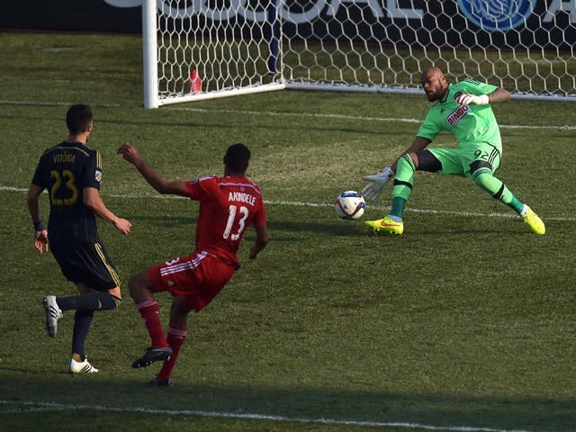 Rais Mbolhi #92 of Philadelphia Union is unable to make the save on a shot and goal by Tesho Akindele #13 of FC Dallas at PPL Park on March 21, 2015
