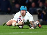 Jack Nowell scores England's fifth try against France in the Six Nations on March 21, 2015