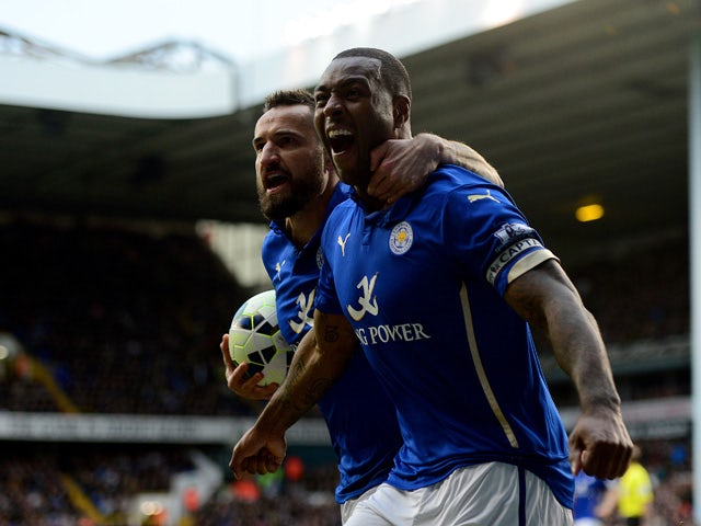 Wes Morgan of Leicester City celebrates after scoring his team's second goal during the Barclays Premier League match between Tottenham Hotspur and Leicester City at White Hart Lane on March 21, 2015