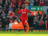 Daniel Sturridge of Liverpool celebrates his goal during the Barclays Premier League match between Liverpool and Manchester United at Anfield on March 22, 2015