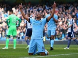 Fernando of Manchester City celebrates scoring their second goal during the Barclays Premier League match between Manchester City and West Bromwich Albion at Etihad Stadium on March 21, 2015