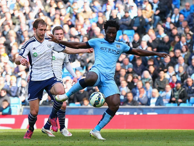 Wilfred Bony of Manchester City scores the opening goal during the Barclays Premier League match between Manchester City and West Bromwich Albion at Etihad Stadium on March 21, 2015