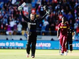 Martin Guptill of New Zealand celebrates after scoring 200 runs during the 2015 ICC Cricket World Cup match between New Zealand and the West Indies at Wellington Regional Stadium on March 21, 2015