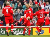 Gaizka Mendieta of Middlesbrough celebrates his goal during the FA Barclaycard Premiership match between Middlesbrough and Birmingham City at The Riverside Stadium on March 20, 2004