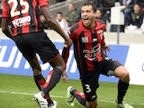 Nice's Brazilian midfielder Carlos Eduardo celebrates after scoring a goal during the French L1 football match between Lyon and Nice on March 21, 2015