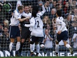Goalkeeper Paul Robinson of Tottenham Hotspur celebrates scoring a goal during the Barclays Premiership match between Tottenham Hotspur and Watford at White Hart Lane on March 17, 2007