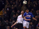 Luis Muriel of Sampdoria and Andrea Ranocchia of Internazionale Milano compete for a header during the Serie A match between UC Sampdoria and FC Internazionale Milano at Stadio Luigi Ferraris on March 22, 2015