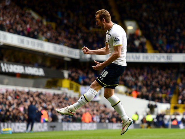 Harry Kane of Spurs celebrates after scoring the opening goal during the Barclays Premier League match between Tottenham Hotspur and Leicester City at White Hart Lane on March 21, 2015