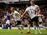 Harry Kane of Spurs celebrates after scoring a goal during the Barclays Premier League match between Tottenham Hotspur and Leicester City at White Hart Lane on March 21, 2015