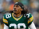 Cornerback Tramon Williams #38 of the Green Bay Packers before the NFL game against the New England Patriots at Lambeau Field on November 30, 2014
