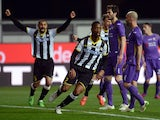 Molla Wague of Udinese Calcio celebrates after scoring his opening goal during the Serie A match between Udinese Calcio and ACF Fiorentina at Stadio Friuli on March 22, 2015
