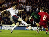 Wayne Rooney of England shoots at goal during the UEFA Euro 2004 Qualifying match between England and Turkey held on April 2, 2003