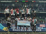 Fiji players celebrates after winning the HSBC Sevens World Series Cup Final match against New Zealand as part of the Hong Kong Sevens, the sixth round of the HSBC Sevens World series at the Hong Kong International Stadium on March 29, 2015