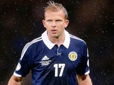 Jordan Rhodes of Scotland in action during the FIFA 2014 World Cup Qualifying Group A match between Scotland and Belgium at Hampden Park on September 6, 2013