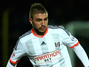 Kostas Stafylidis of Fulham during the Sky Bet Championship match between Watford and Fulham at Vicarage Road on March 3, 2015