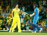 Mitchell Starc of Australia celebrates taking the final wicket during the 2015 Cricket World Cup Semi Final match between Australia and India at Sydney Cricket Ground on March 26, 2015