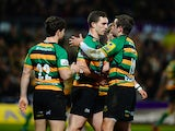George North of Northampton Saints celebrates after scoring their first try during the Aviva Premiership match between Northampton Saints and Wasps at Franklin's Gardens on March 27, 2015
