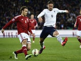 French forward Olivier Giroud (R) vies with Denmark's defender Eric Sviatchenko (L) during the friendly football match France vs Denmark, on March 29, 2015