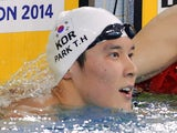 Park Tae-Hwan of South Korea after winning the Men's 1500m Freestyle during the 2014 Asian Games on September 26, 2014