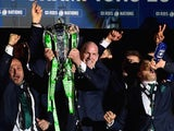 Ireland captain Paul O'Connell lifts the trophy after the RBS Six Nations match against Scotland at Murrayfield Stadium on March 21, 2015