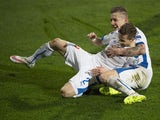 Slovakia's Juraj Kucka and Slovakia's Peter Pekarik celebrate Pekarik scoring the 3-0 goal during the EURO 2016 Group C qualifier football match Slovakia vs Luxembourg in Zilina, Slovakia on March 27, 2015