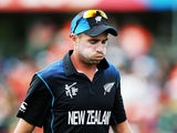 Tim Southee of New Zealand reacts during the 2015 ICC Cricket World Cup match between Bangladesh and New Zealand at Seddon Park on March 13, 2015
