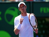 Andy Murray of Great Britain celebrates a point against Tomas Berdych of the Czech Republic in their semi-final match during the Miami Open Presented by Itau at Crandon Park Tennis Center on April 3, 2015