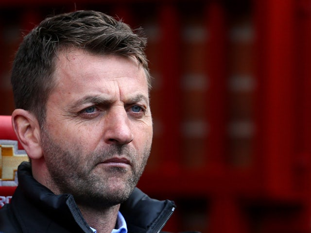 Tim Sherwood, manager of Aston Villa looks on before the Barclays Premier League match between Manchester United and Aston Villa at Old Trafford on April 4, 2015