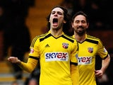 Jota of Brentford celebrates scoring his sides fourth goal during the Sky Bet Championship match between Fulham and Brentford at Craven Cottage on April 3, 2015