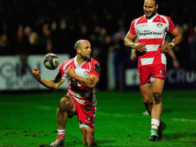 Gloucester wing Charlie Sharples and Bill Meakes celebrate after the first try during the European Rugby Challenge Cup Quarter Final match between Gloucester Rugby and Connacht Rugby at Kingsholm Stadium on April 3, 2015