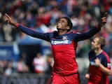 Joevin Jones #3 of the Chicago Fire celebrates a first half goal against Toronto FC during an MLS match at Toyota Park on April 4, 2015