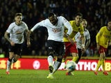 Darren Bent of Derby scores his team's first goal of the game during the Sky Bet Championship match between Derby County and Watford at iPro Stadium on April 3, 2015