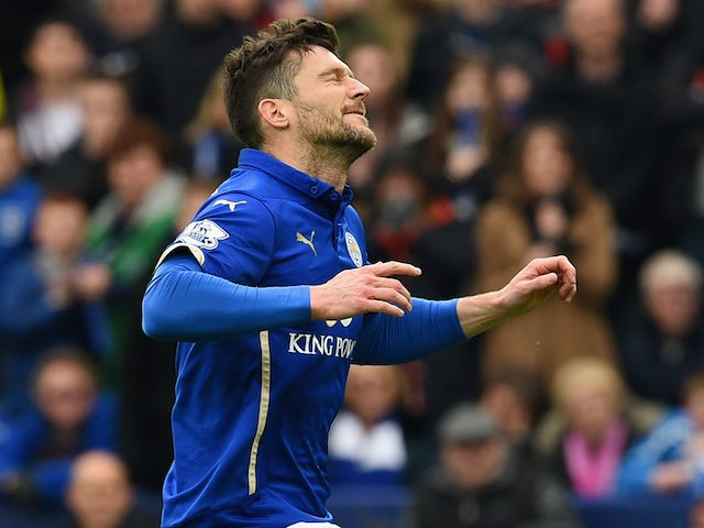 David Nugent of Leicester City reacts after missing a penalty during the Barclays Premier league match Leicester City and West Ham United at The King Power Stadium on April 4, 2015