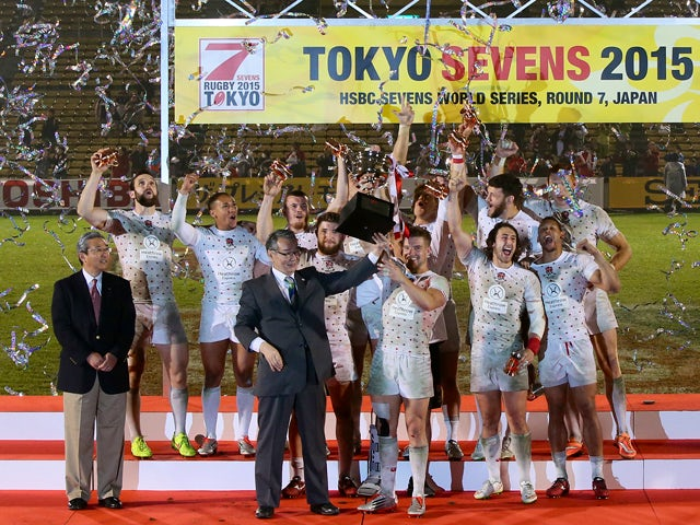 England team celebrates after wininng the cup final between England and South Africa during day two of the Tokyo Sevens Rugby 2015 at Chichibunomiya Rugby Stadium on April 5, 2015