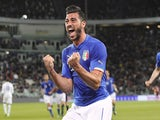 Graziano Pelle of Italy celebrates after scoring the opening goal during the international friendly match beteween Italy and England at Juventus Arena on March 31, 2015Graziano Pelle of Italy celebrates after scoring the opening goal during the internatio