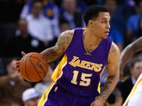 Jabari Brown #15 of the Los Angeles Lakers in action against the Golden State Warriors at ORACLE Arena on March 16, 2015