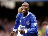Kevin Campbell of Everton celebrates one of his three goals in the FA Carling Premiership match against West Ham United at Goodison Park on May 8, 1999