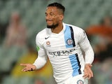 Harry Novillo of Melbourne City celebrates scoring a goal during the round 24 A-League match between the Western Sydney Wanderers and Melbourne City FC at Pirtek Stadium on April 3, 2015