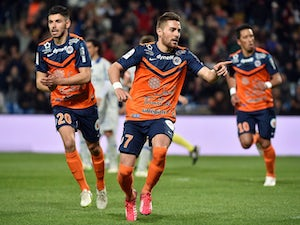 Montpellier's French forward Anthony Mounier reacts after scoring a penalty during the French L1 football match between Montpellier and Bastia, on April 4, 2015