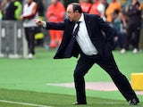 Napoli's coach from Spain Rafael Benitez reacts during the Italian Serie A football match between AS Roma and Napoli on April 4, 2015