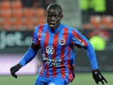 Caen's French midfielder N'golo Kante runs with the ball during the French L1 football match Lorient versus Caen on March 14, 2015