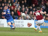 James Gray of Northampton Town scores his and his sides 1st goal during the Sky Bet League Two match between AFC Wimbledon and Northampton Town at The Cherry Red Records Stadium on April 3, 2015