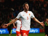 Stefan de Vrij of Netherlands celebrates scoring the opening goal during the international friendly match between the Netherlands and Spain held at Amsterdam Arena on March 31, 2015