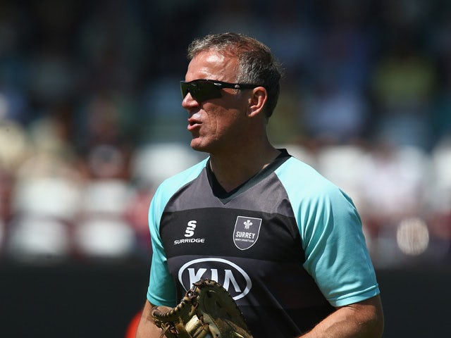 Alec Stewart Director of cricket of Surrey during the warm up ahead of the NatWest T20 Blast match between Somerset and Surrey at The County Ground on May 18, 2014