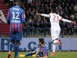 Monaco's French forward Anthony Martial (R) celebrates after scoring a goal during the French L1 football match between Caen (SMC) and Monaco (ASM) on April 10, 2015