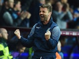 Tim Sherwood manager of Aston Villa celebrates as Christian Benteke of Aston Villa scores their second goal during the Barclays Premier League match between Aston Villa and Queens Park Rangers at Villa Park on April 7, 2015