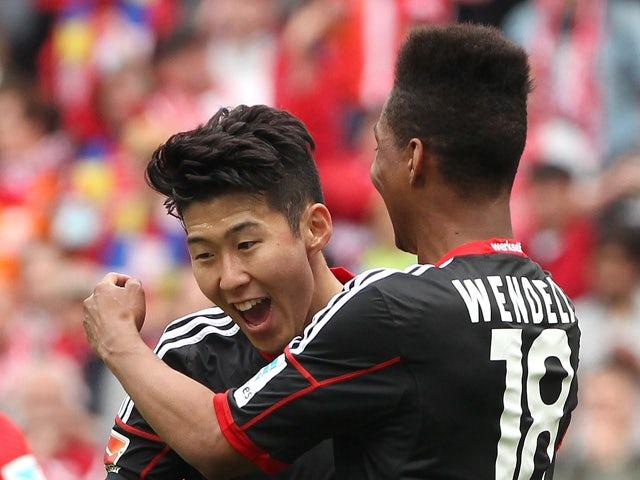 Heung Min Son celebrates scoring the 1-0 during the German first division Bundesliga football match between 1 FSV Mainz 05 v Bayer 04 Leverkusen in Mainz, Germany, on April 11, 2015