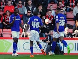 Clayton Donaldson of Birmingham City celebrates after scoring his side's first goal during the Sky Bet Championship match between AFC Bournemouth and Birmingham City at Goldsands Stadium on April 6, 2015