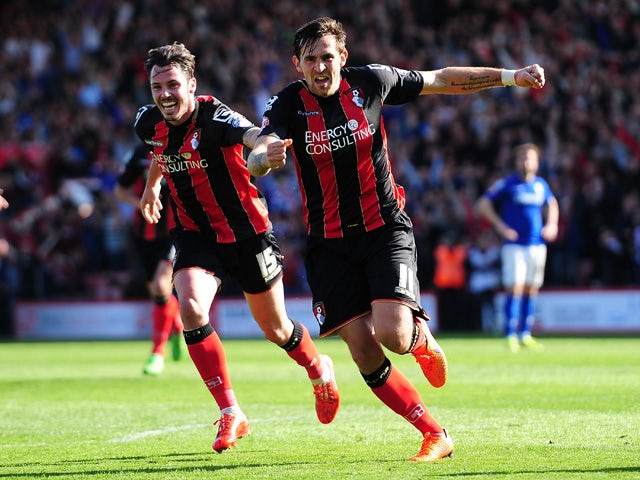 Charlie Daniels celebrates after scoring his side's fourth goal during the Sky Bet Championship match between AFC Bournemouth and Birmingham City at Goldsands Stadium on April 6, 2015