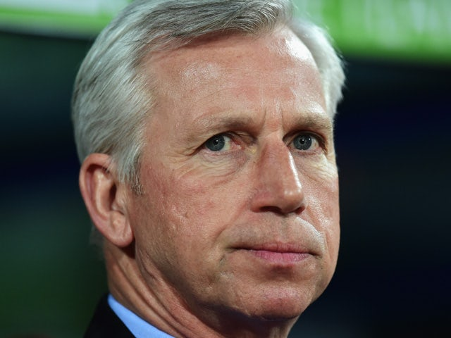 Alan Pardew, manager of Crystal Palace looks on during the Barclays Premier League match between Crystal Palace and Manchester City at Selhurst Park on April 6, 2015